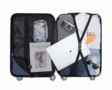 BEIBYE Hartschalen-Koffer Trolley Rollkoffer Reisekoffer Handgepäck 4 Rollen (M-L-XL-Set) (Rosa Gold, M) - 5