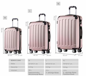 BEIBYE Hartschalen-Koffer Trolley Rollkoffer Reisekoffer Handgepäck 4 Rollen (M-L-XL-Set) (Rosa Gold, M) - 6