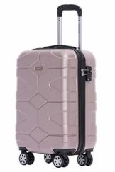 BEIBYE - TSA Schloß 2035 Hartschale Reisekoffer Koffer Handgepäck Trolley (Rosagold, M) - 1