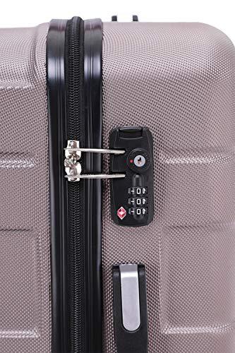 BEIBYE - TSA Schloß 2035 Hartschale Reisekoffer Koffer Handgepäck Trolley (Rosagold, M) - 3