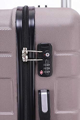 BEIBYE - TSA Schloß 2035 Hartschale Reisekoffer Koffer Handgepäck Trolley (Rosagold, M) - 4