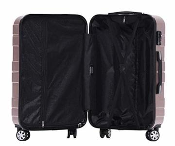 BEIBYE - TSA Schloß 2035 Hartschale Reisekoffer Koffer Handgepäck Trolley (Rosagold, M) - 6