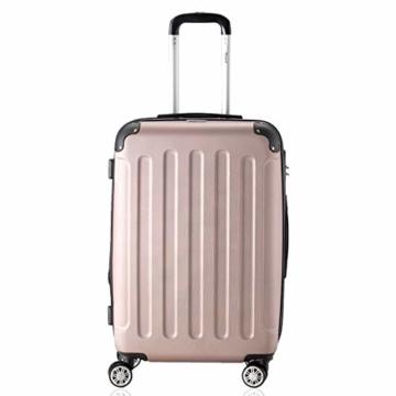 Flexot 2045 Handgepäck Koffer (Bordcase) - Farbe Rosegold Größe M Hartschalen-Koffer Trolley Rollkoffer Reisekoffer Handgepäck 4 Rollen - 2