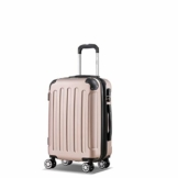 Flexot 2045 Handgepäck Koffer (Bordcase) - Farbe Rosegold Größe M Hartschalen-Koffer Trolley Rollkoffer Reisekoffer Handgepäck 4 Rollen - 1