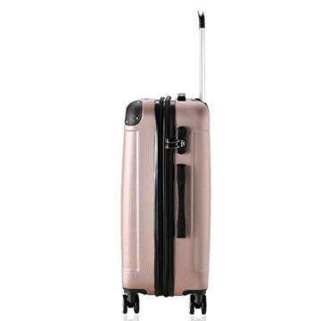 Flexot 2045 Handgepäck Koffer (Bordcase) - Farbe Rosegold Größe M Hartschalen-Koffer Trolley Rollkoffer Reisekoffer Handgepäck 4 Rollen - 3