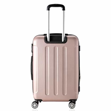 Flexot 2045 Handgepäck Koffer (Bordcase) - Farbe Rosegold Größe M Hartschalen-Koffer Trolley Rollkoffer Reisekoffer Handgepäck 4 Rollen - 4