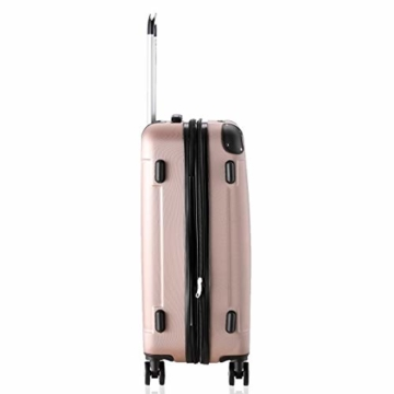 Flexot 2045 Handgepäck Koffer (Bordcase) - Farbe Rosegold Größe M Hartschalen-Koffer Trolley Rollkoffer Reisekoffer Handgepäck 4 Rollen - 5
