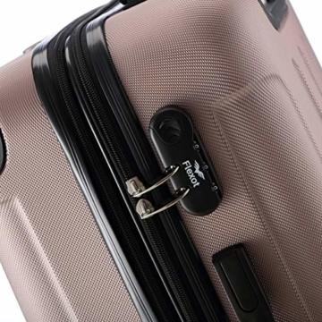 Flexot 2045 Handgepäck Koffer (Bordcase) - Farbe Rosegold Größe M Hartschalen-Koffer Trolley Rollkoffer Reisekoffer Handgepäck 4 Rollen - 6