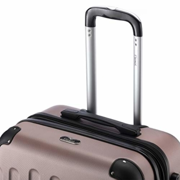 Flexot 2045 Handgepäck Koffer (Bordcase) - Farbe Rosegold Größe M Hartschalen-Koffer Trolley Rollkoffer Reisekoffer Handgepäck 4 Rollen - 8