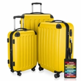 HAUPTSTADTKOFFER - Spree - 3er Koffer-Set + Kofferanhänger - Handgepäck 55 cm, mittelgroßer Koffer 65 cm, großer Reisekoffer 75 cm, TSA, 4 Rollen, Gelb - 1