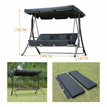 Loywe Hollywoodschaukel Gartenschaukel Moderne Gartenliege Outdoor Schaukelbank mit Liegefunktion 190x135x170cm LW10 Schwarz - 2