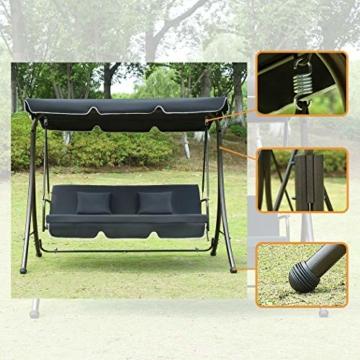 Loywe Hollywoodschaukel Gartenschaukel Moderne Gartenliege Outdoor Schaukelbank mit Liegefunktion 190x135x170cm LW10 Schwarz - 4