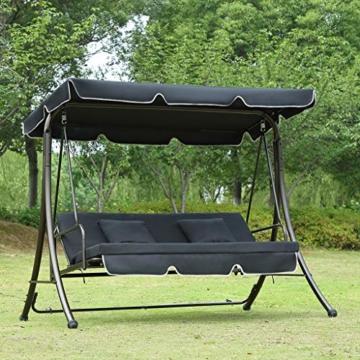 Loywe Hollywoodschaukel Gartenschaukel Moderne Gartenliege Outdoor Schaukelbank mit Liegefunktion 190x135x170cm LW10 Schwarz - 1