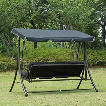 Loywe Hollywoodschaukel Gartenschaukel Moderne Gartenliege Outdoor Schaukelbank mit Liegefunktion 190x135x170cm LW10 Schwarz - 6