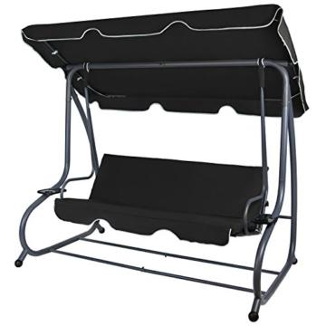 Montafox 4-Sitzer Hollywoodschaukel Gartenschaukel klappbar mit Bettfunktion mit Sonnendach und Liegefunktion für 4 Personen, Farbe:Titanschwarz - 2