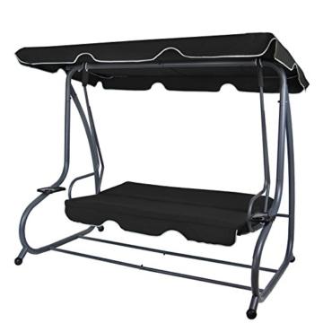 Montafox 4-Sitzer Hollywoodschaukel Gartenschaukel klappbar mit Bettfunktion mit Sonnendach und Liegefunktion für 4 Personen, Farbe:Titanschwarz - 3