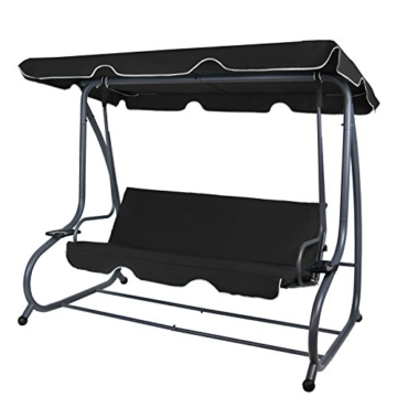 Montafox 4-Sitzer Hollywoodschaukel Gartenschaukel klappbar mit Bettfunktion mit Sonnendach und Liegefunktion für 4 Personen, Farbe:Titanschwarz - 1