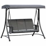 Outsunny 3-Sitzer Hollywoodschaukel, Gartenschaukel mit Sonnendach, Schaukelbank mit Ablage, Aluminium, Grau, 196 x 128 x 172 cm - 1
