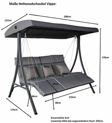 Pure Home & Garden 3-Sitzer XXL Hollywoodschaukel Vippe, ergonomisch geformt - 2