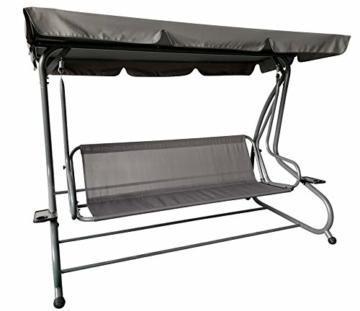Pure Home & Garden 4-Sitzer XXL Hollywoodschaukel mit Liegefunktion Askim Anthrazit, einfach klappbar, 232 cm - 3