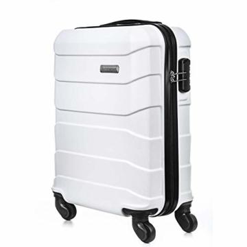 Sommerson Handgepäck Basic M - 4-Rollen Hartschalen-Koffer Trolley Rollkoffer Reisekoffer aus hochwertigem ABS Kunststoff, 55x40x20 cm, Zahlenschloss, 34 L (Weiß) - 2