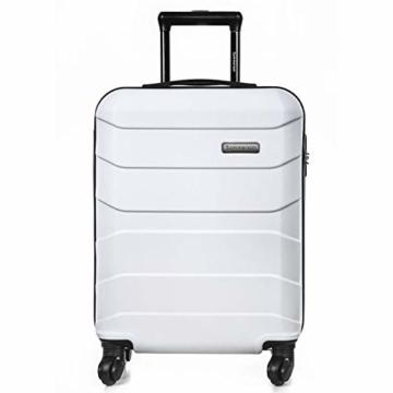 Sommerson Handgepäck Basic M - 4-Rollen Hartschalen-Koffer Trolley Rollkoffer Reisekoffer aus hochwertigem ABS Kunststoff, 55x40x20 cm, Zahlenschloss, 34 L (Weiß) - 1