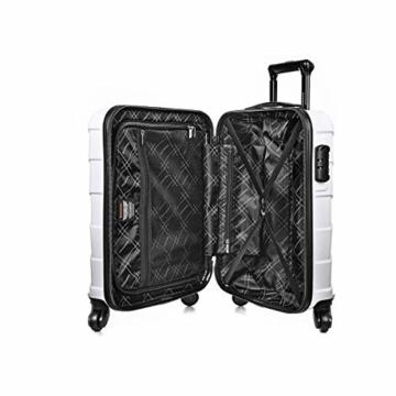 Sommerson Handgepäck Basic M - 4-Rollen Hartschalen-Koffer Trolley Rollkoffer Reisekoffer aus hochwertigem ABS Kunststoff, 55x40x20 cm, Zahlenschloss, 34 L (Weiß) - 5