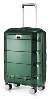 HAUPTSTADTKOFFER - Britz - Handgepäck mit Laptopfach Hartschalen-Koffer Trolley Rollkoffer Reisekoffer, TSA, 4 Rollen, 55 cm, 34 Liter, Dunkelgrün - 1