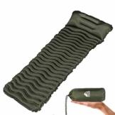 Unigear Camping Isomatte, Aufblasbare Luftmatratze Camping, Schlafmatte für Outdoor, Feuchtigkeitsbeständig Wasserdicht und rutschfest, MEHRWEG (Armeegrün mit Kissen) - 1