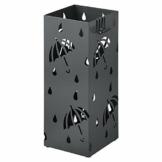 WOLTU Regenschirmständer aus Eisen, L20 x B20 x H49cm, Schirmständer mit Wasserauffangschale, 4 Haken für Taschenschirme, Anthrazit Rechteck SST02an - 1
